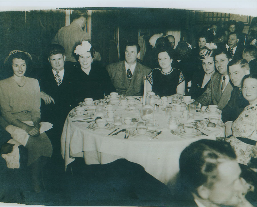 (left to right) Charles and Peggy Nurisso; Lawrence and Dena Nurisso; Norman and Bernice Nurisso, early 1950.