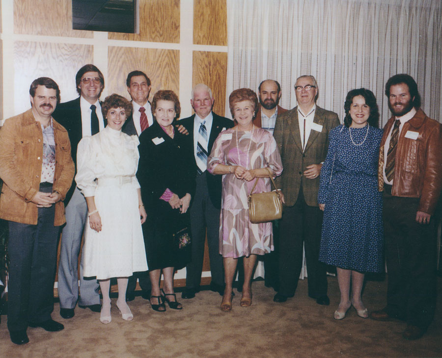 (left to right) Donald Nurisso (son of Lawrence and Robert's cousin); Robert and Virginia Nurisso; Norman and Bernice Nurisso (Robert's parents); Charles and Peggy Nurisso; Norman Nurisso (Robert's brother); Lawrence Nurisso; Deborah and Pat Nurisso (Pat is the son of Charles and is Robert's cousin)