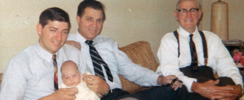 "Four Generations of Nurissos in the plumbing industry:  Robert holding son Fred; Norman and Charles ""Noury"" Nurisso, circa 1968."
